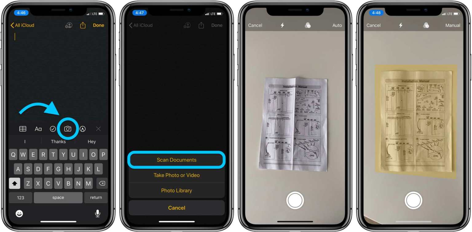 Scanning documents using the Notes app